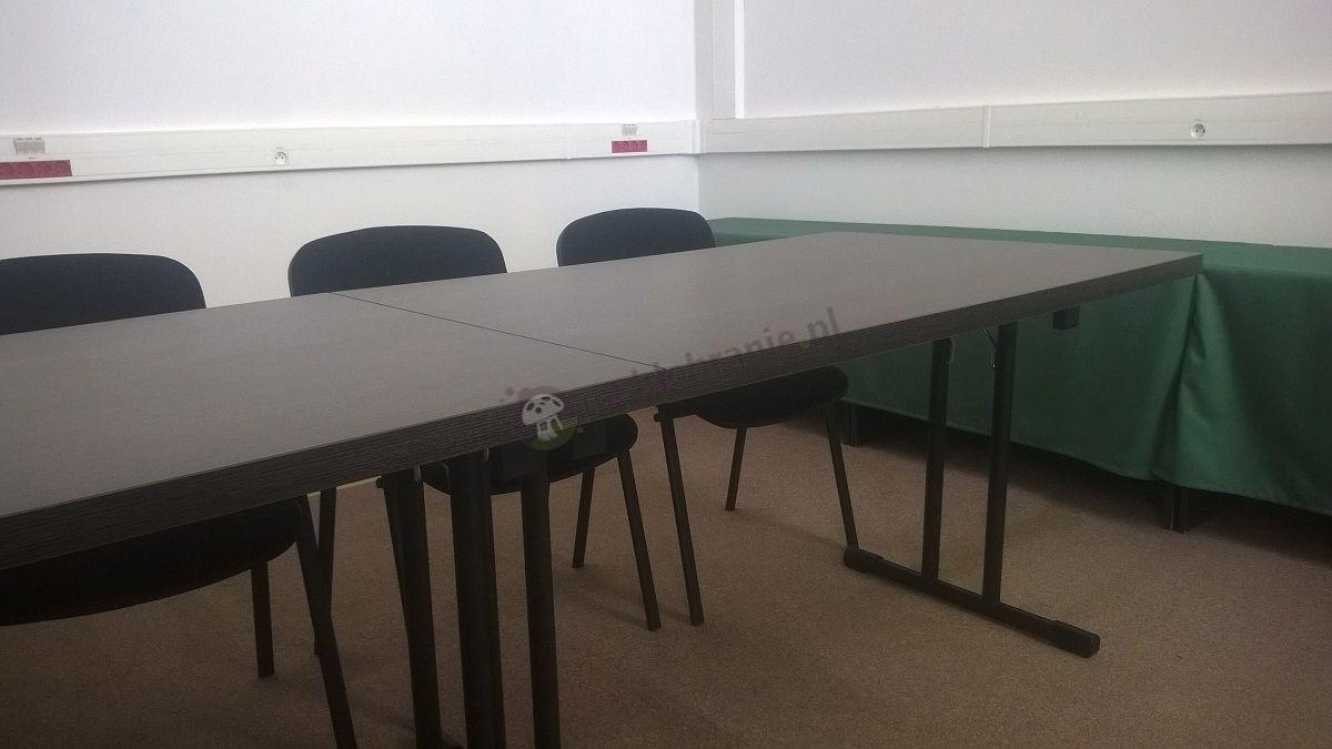Stół konferencyjny wenge wysokość 76 cm czarny stelaż