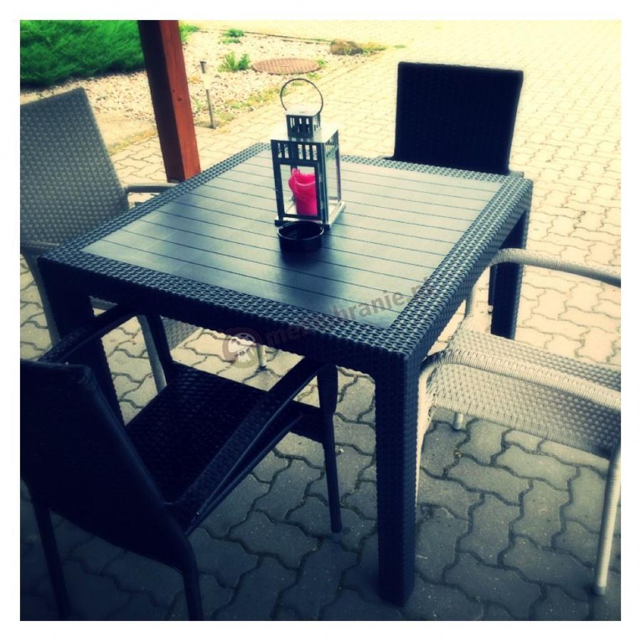 Stół ogrodowy kwadratowy Melody Quartet z krzesłami
