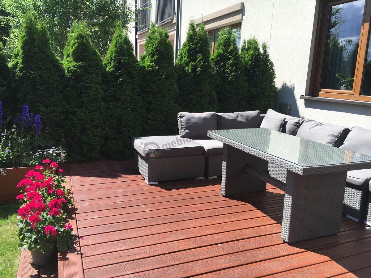 Stół ogrodowy z technorattanu o wysokości 65 cm