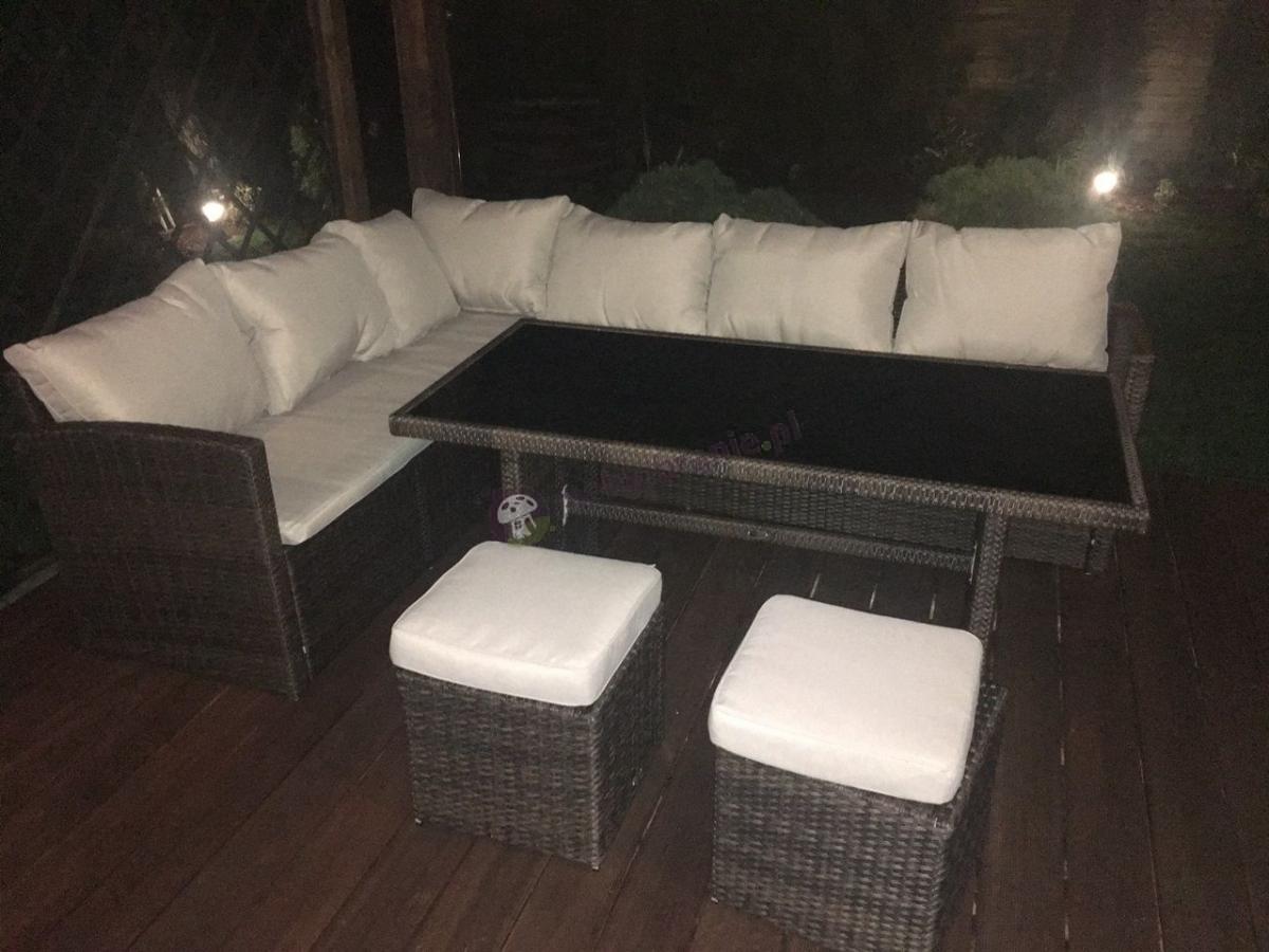 Stół ogrodowy z technorattanu w komplecie z dużą sofą narożną
