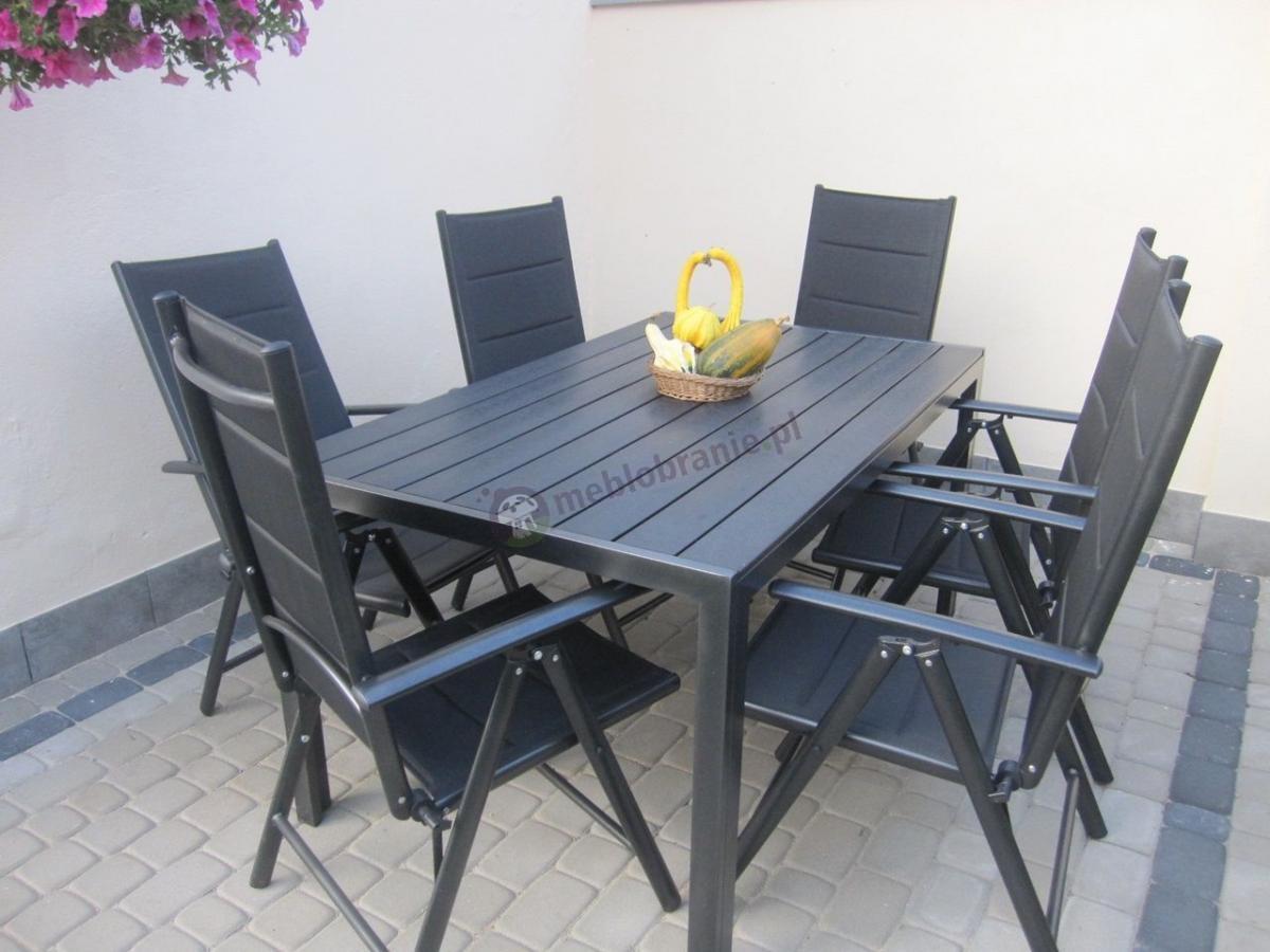 Stół z krzesłami do ogrodu Sydney Anthracite