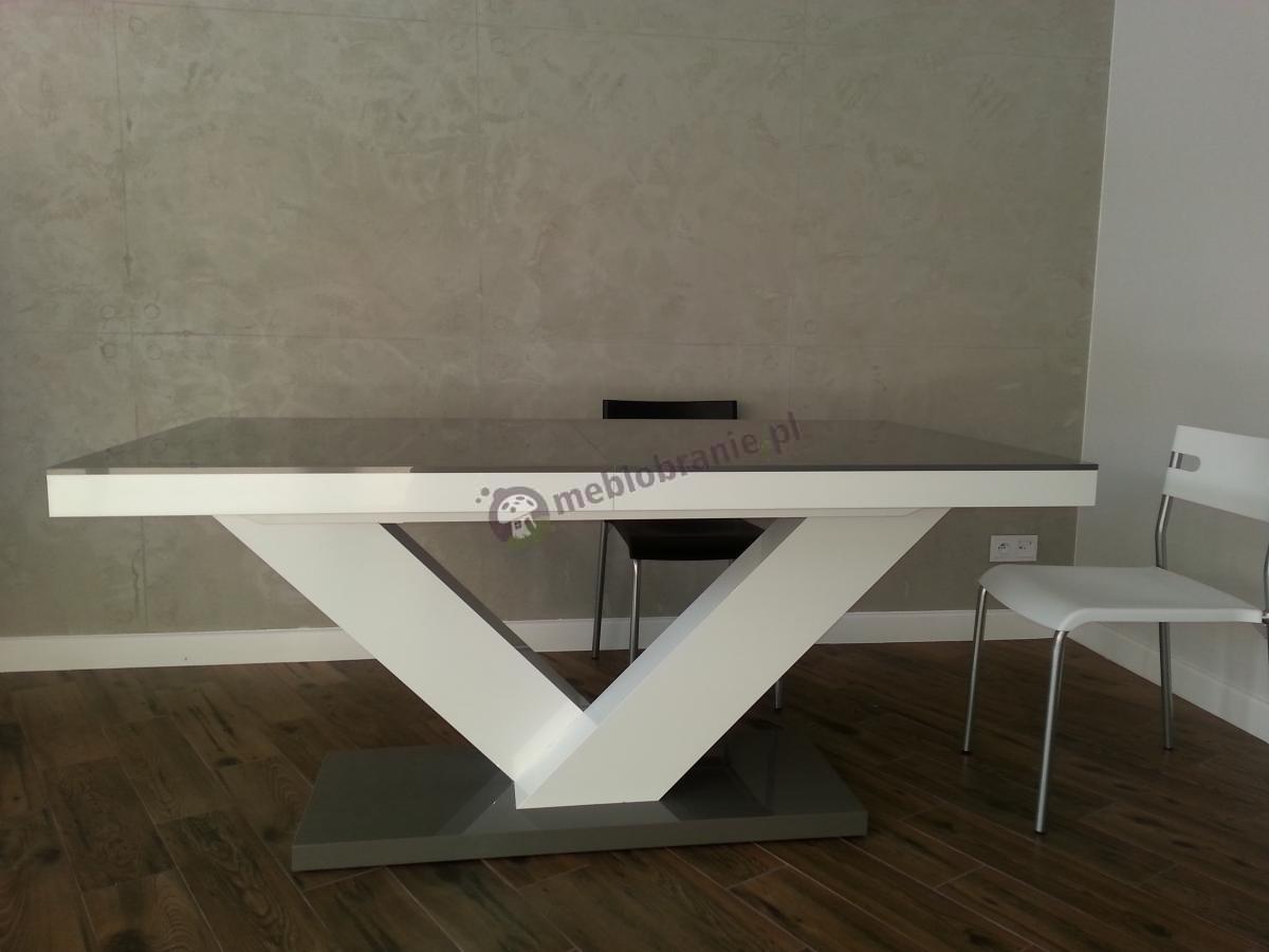 Stół z wysokopołyskowym blatem Victoria w kolorach szary - biały - szary