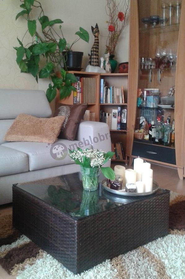 Stolik kawowy technorattan ustawiony w salonie