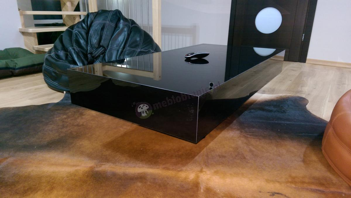 Stolik miniaturowy na kawę Pixel w czarnym połysku