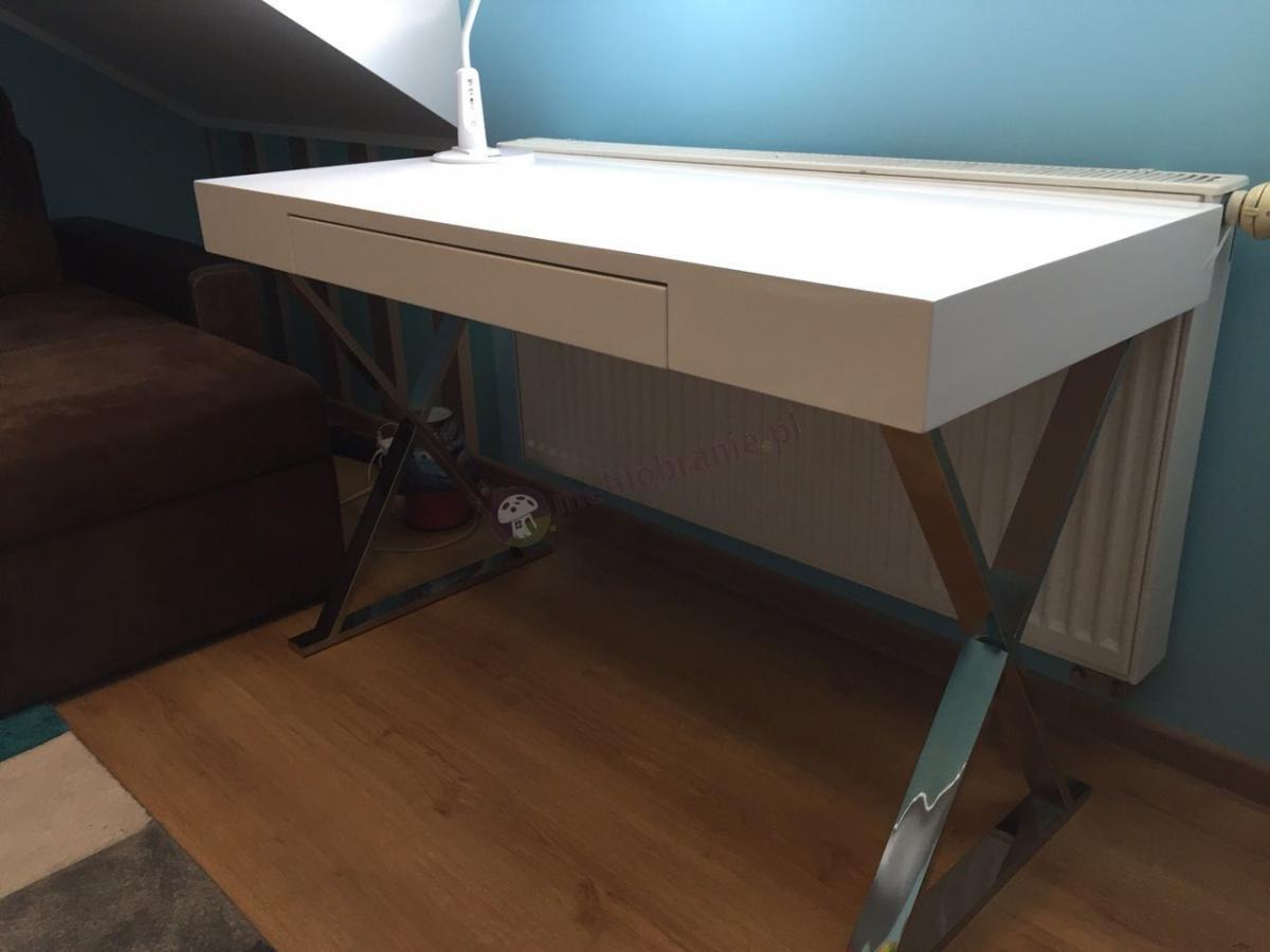 Stylowe białe biurko wysoki połysk z szufladą