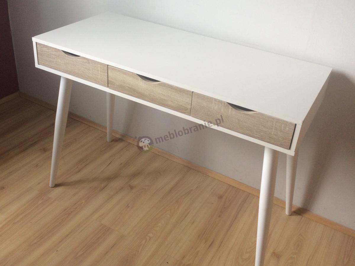 Stylowe biurko skandynawskie białe z szufladami Actona Neptun