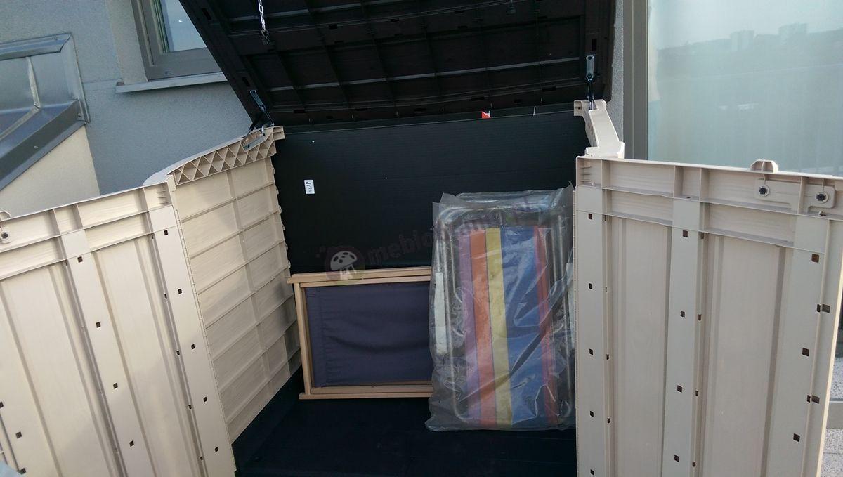 Szafa na balkon z tworzywa sztucznego z obszernym wnętrzem