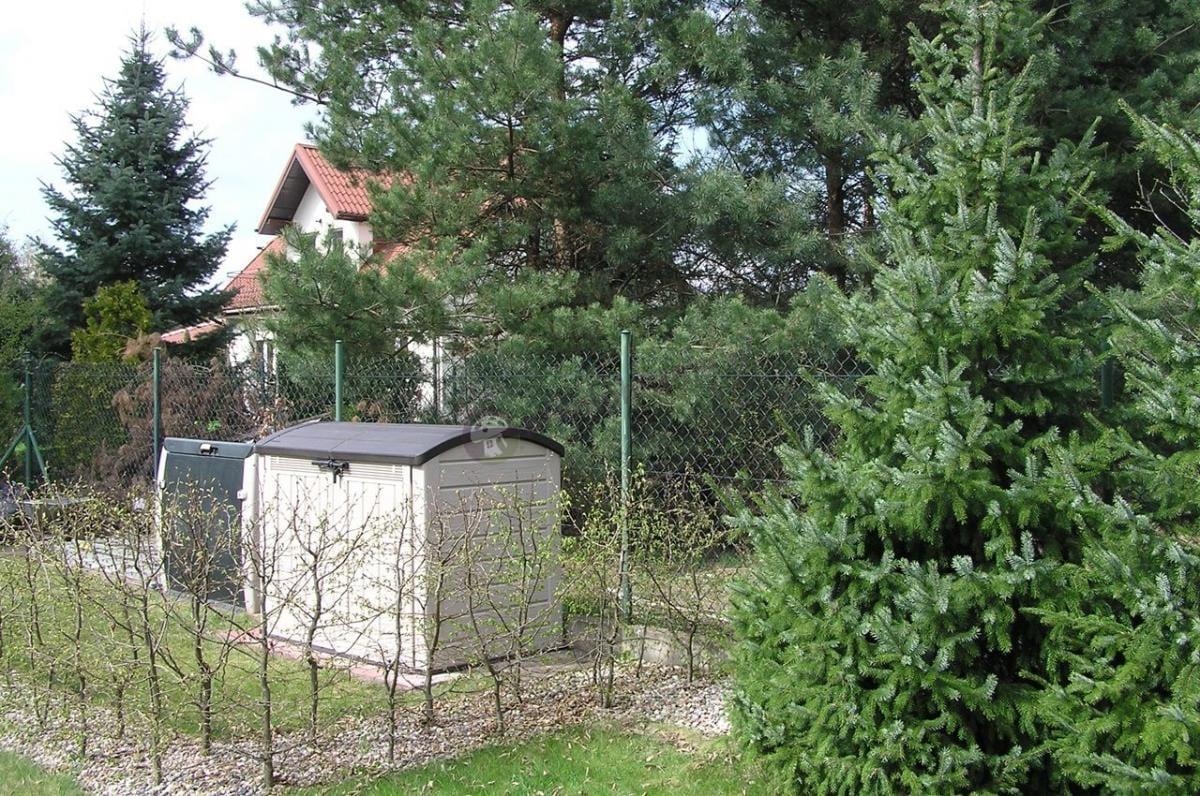 Szafa ogrodowa na narzędzia plastikowa ustawiona obok kompostownika