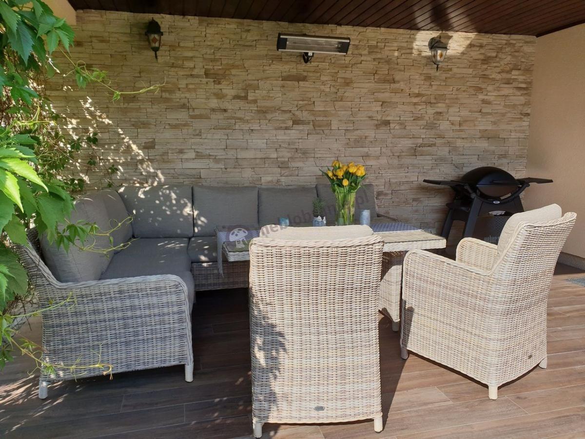Technorattan komplet ogrodowy narożnik z fotelami i wysokim stołem