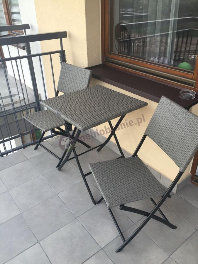 Technorattan na balkon składane krzesła i stół