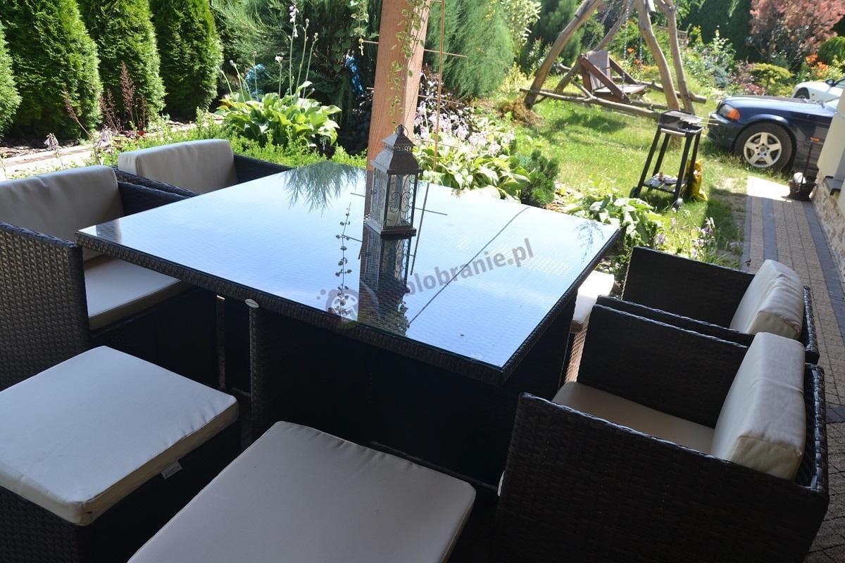 Technorattan zestaw obiadowy z pięknym ogrodem w tle