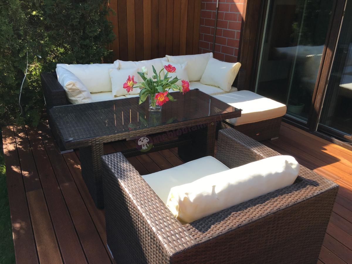 Technorattan zestaw ze stolikiem Nilamito VI plus brown-ecru używany u naszego klienta