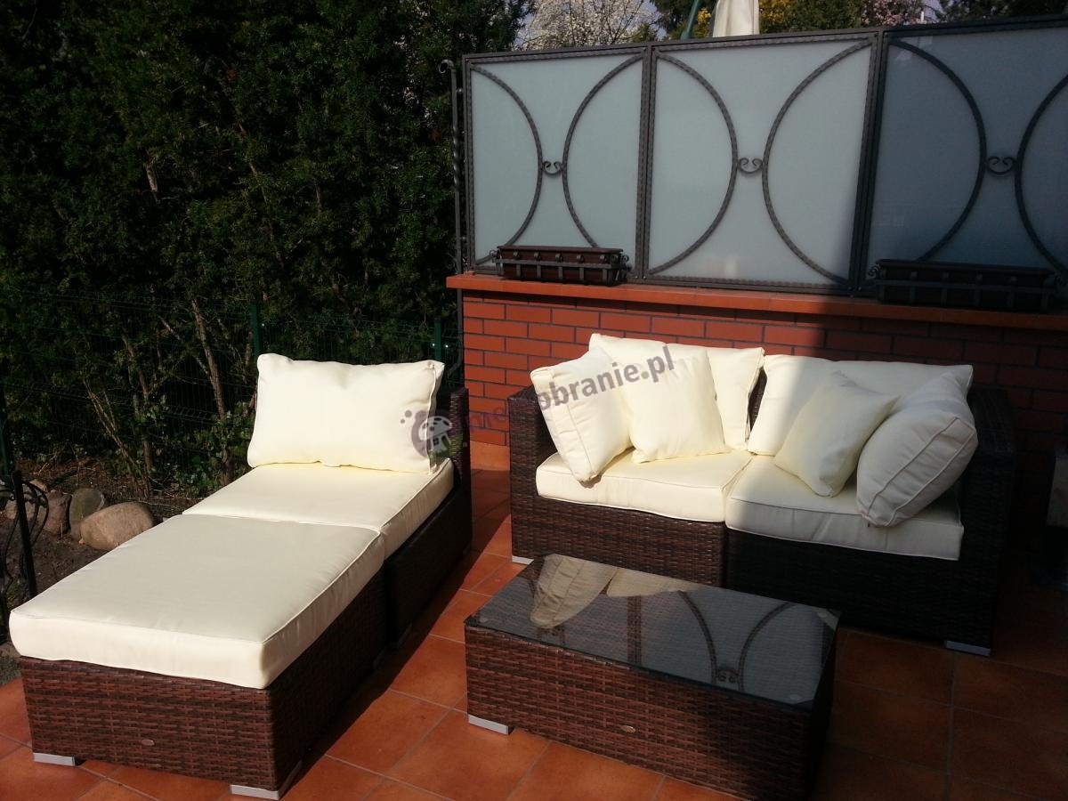 Technorattanowe łóżko, sofa i stolik z kompletu Nilamito brąz i ecru