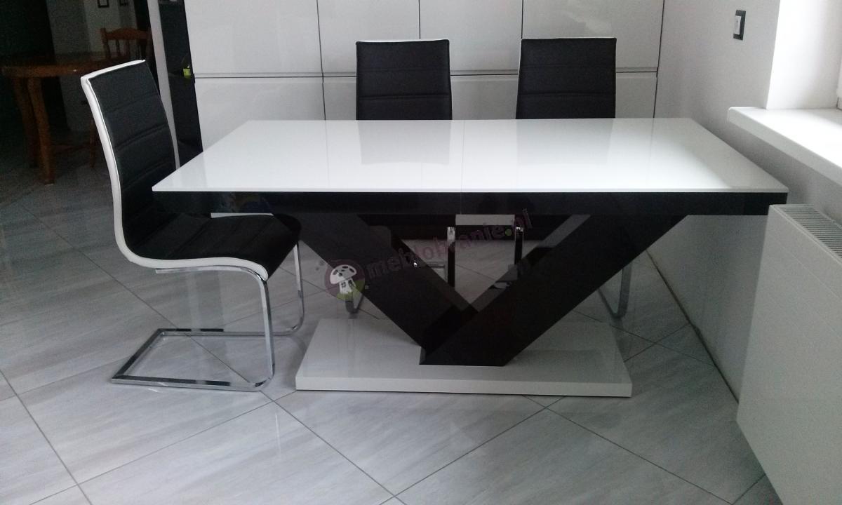 Victoria stół rozkładany w wysokim połysku biały - czarny - biały