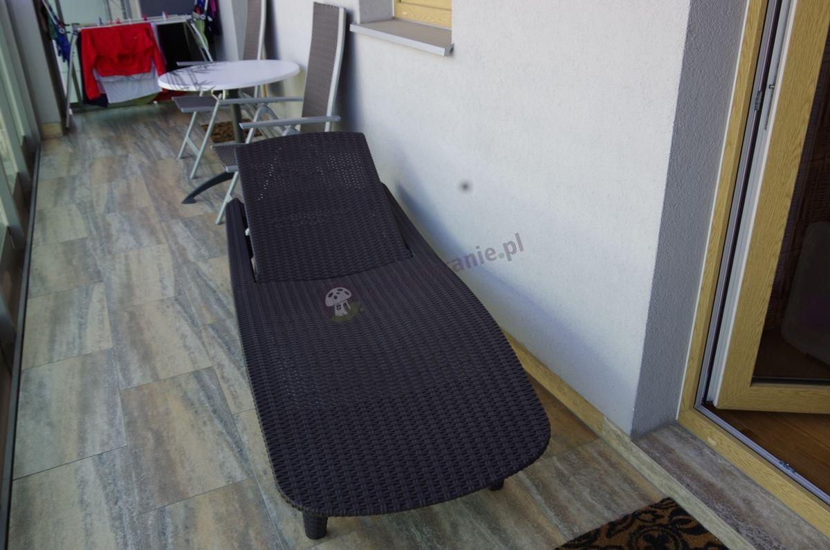 Wygodny leżak z tworzywa sztucznego z rattanowym wzorem