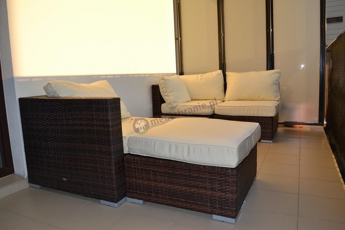 Wypoczynki ogrodowe z technorattanu - sofa i leżanka z modułów