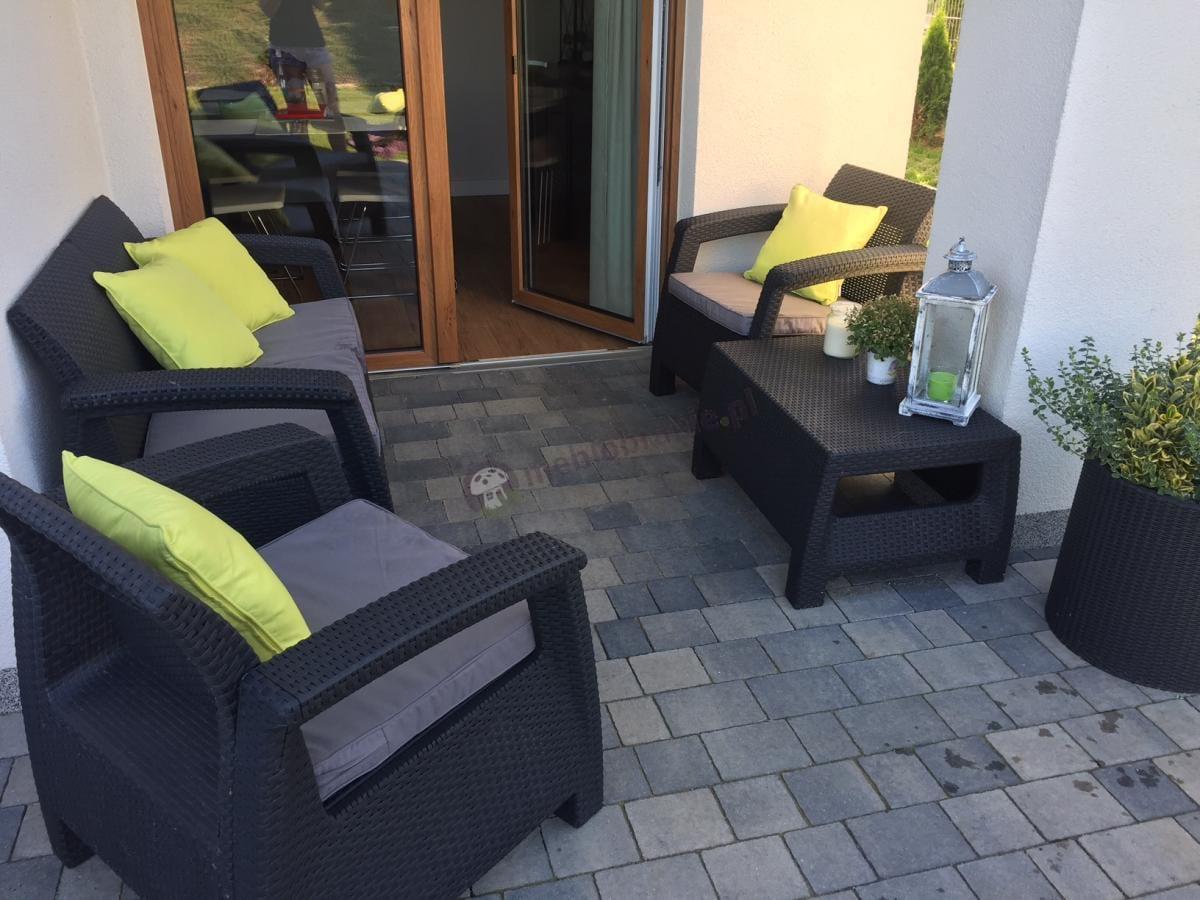Zestaw dla 3 osób wypoczynek ogrodowy z doniczkami Keter Curver Set