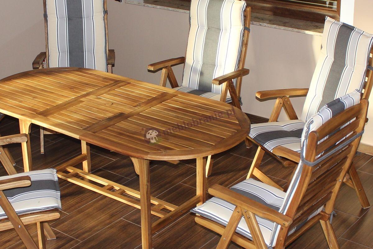 Zestaw mebli drewnianych z okrągłym stołem