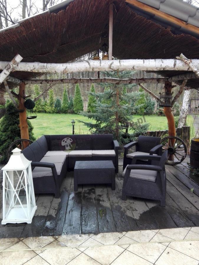 Zestaw mebli ogrodowych rattan look z poduszkami na siedziska