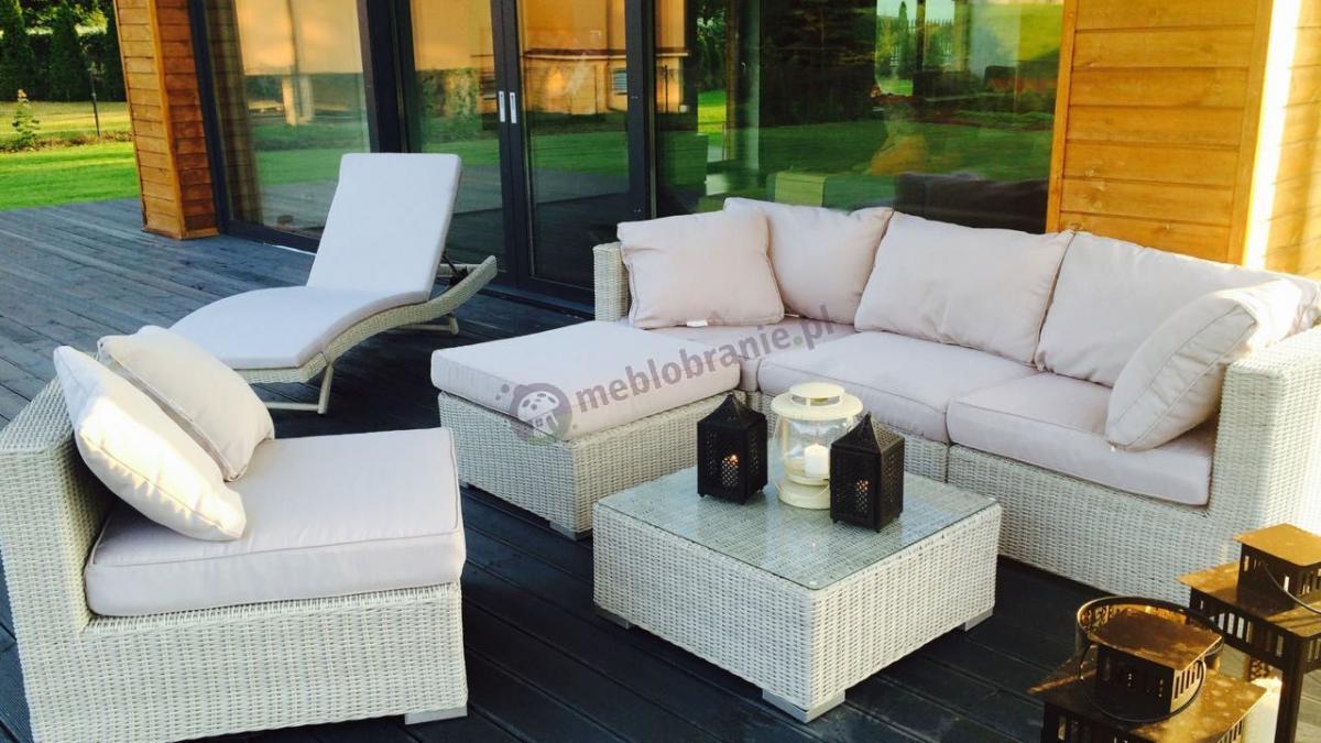 Zestaw mebli ogrodowych technorattan sofa, stolik, leżak