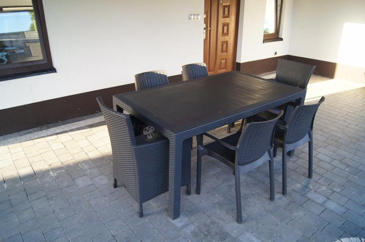 Zestaw na taras ze stołem rozkładanym, fotelami i krzesłami ogrodowymi Keter
