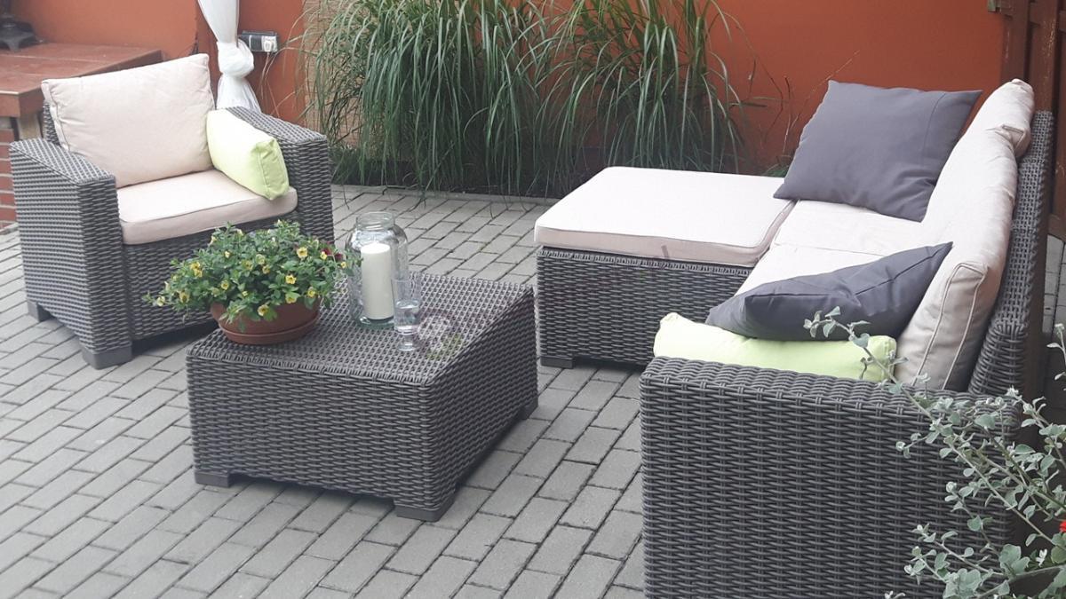 Zestaw narożnikowy do ogrodu z fotelem rattanowy efekt Keter