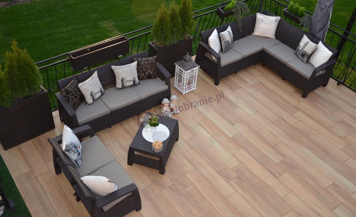 Zestaw ogrodowy Corfu Curver z narożnikiem, dwoma sofami i stolikiem