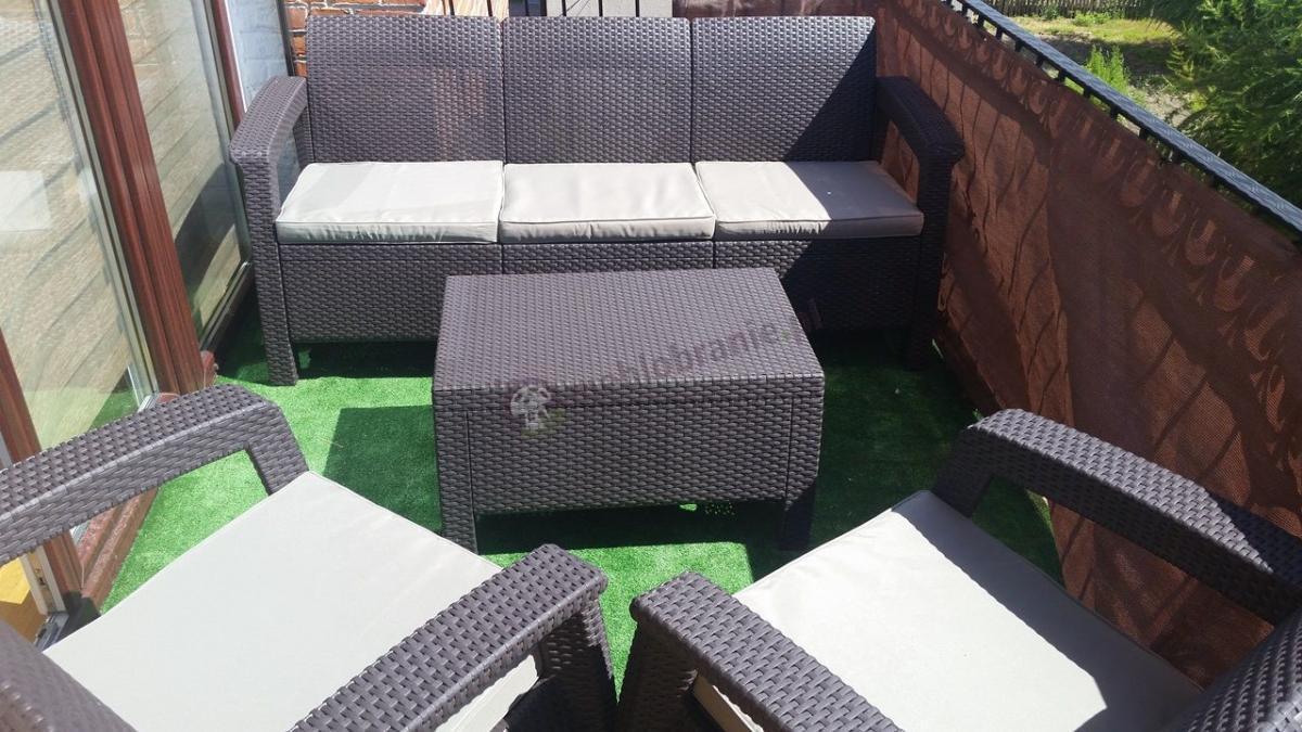 Zestaw ogrodowy dla 5 osób na nieduży balkon Corfu Set Max Brąz