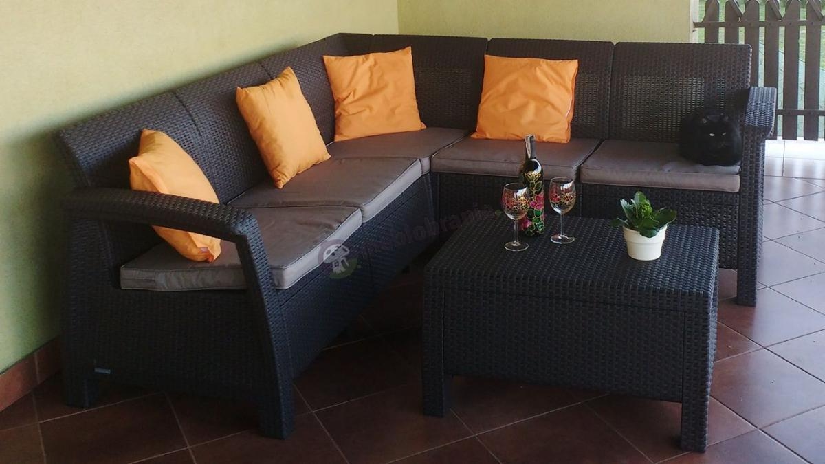 Zestaw ogrodowy narożnik Corfu Relax Set brązowy