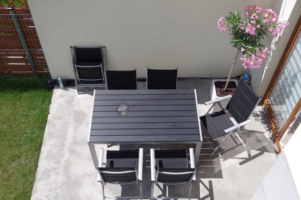 Zestaw ogrodowy stołowy z deskami z polywood Sydney Silver