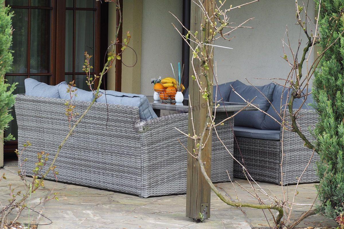 Zestaw ogrodowy technorattan z sofą trzyosobową Caprice Grey