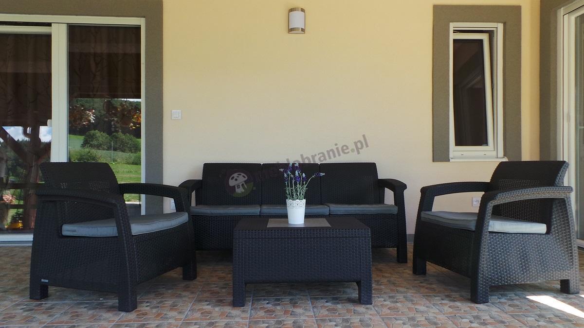 Zestaw ogrodowy z dużą sofą trzyosobową Corfu Curver Set Max grafitowy