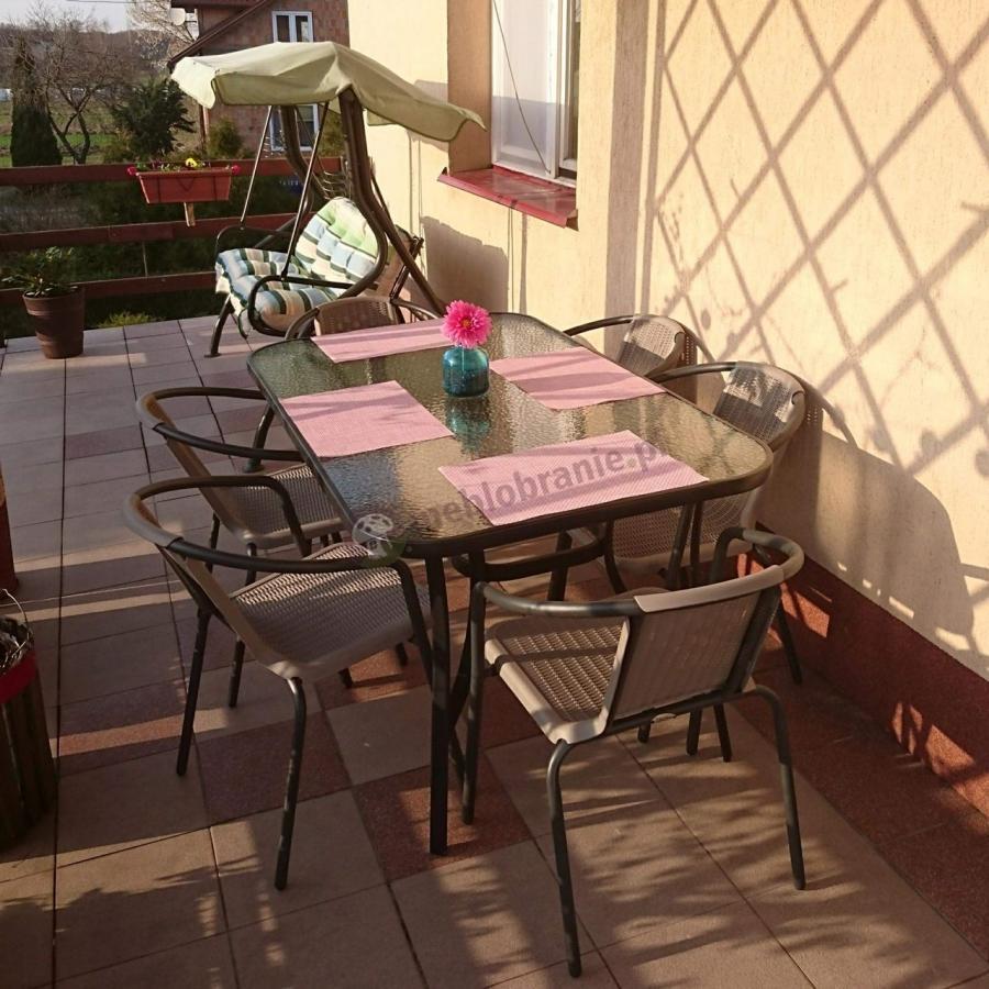 Zestaw ogrodowy z metalu cappuccino 6 krzeseł i stół obiadowy
