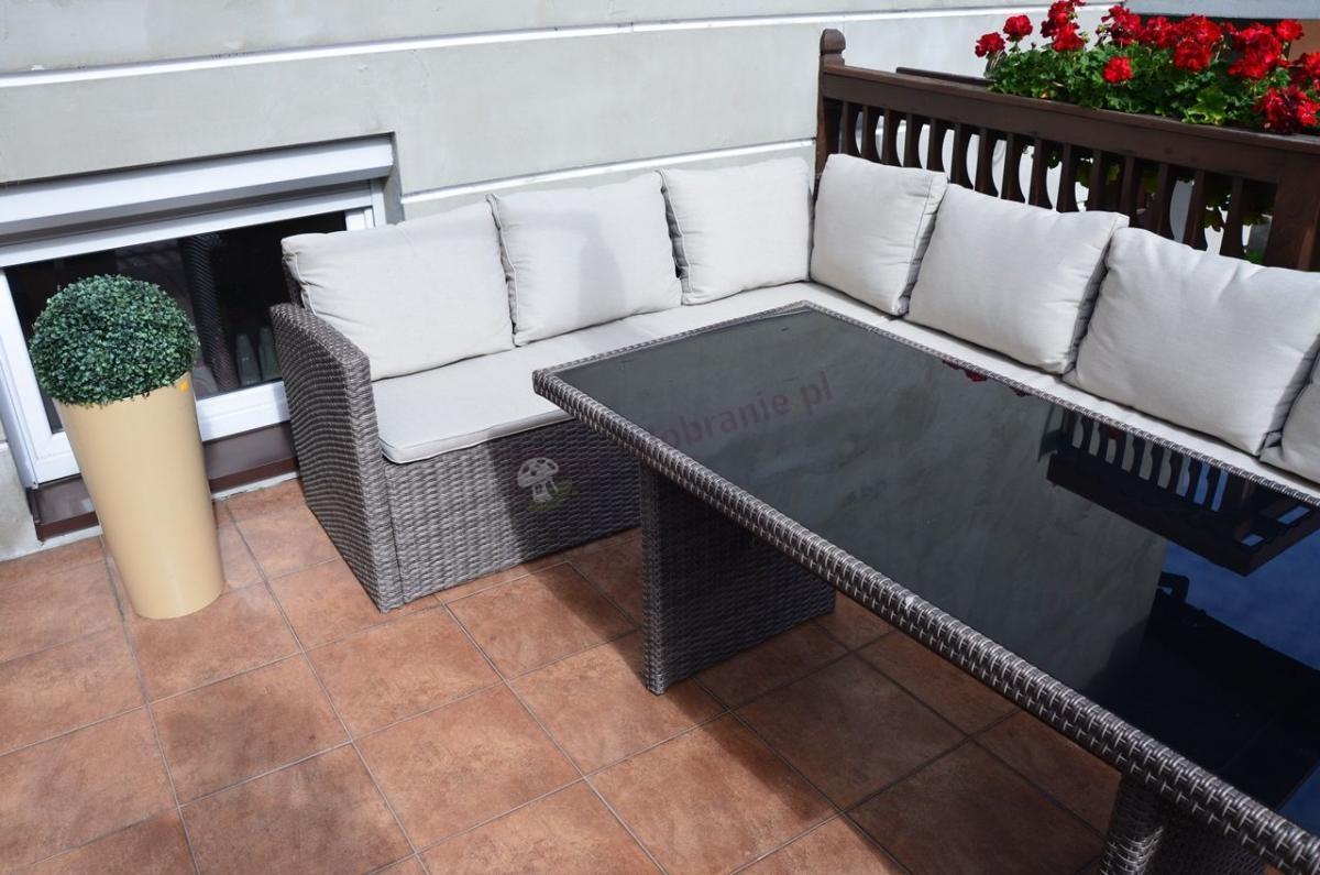 Zestaw ogrodowy z technorattanu z dużą sofą i wysokim stołem