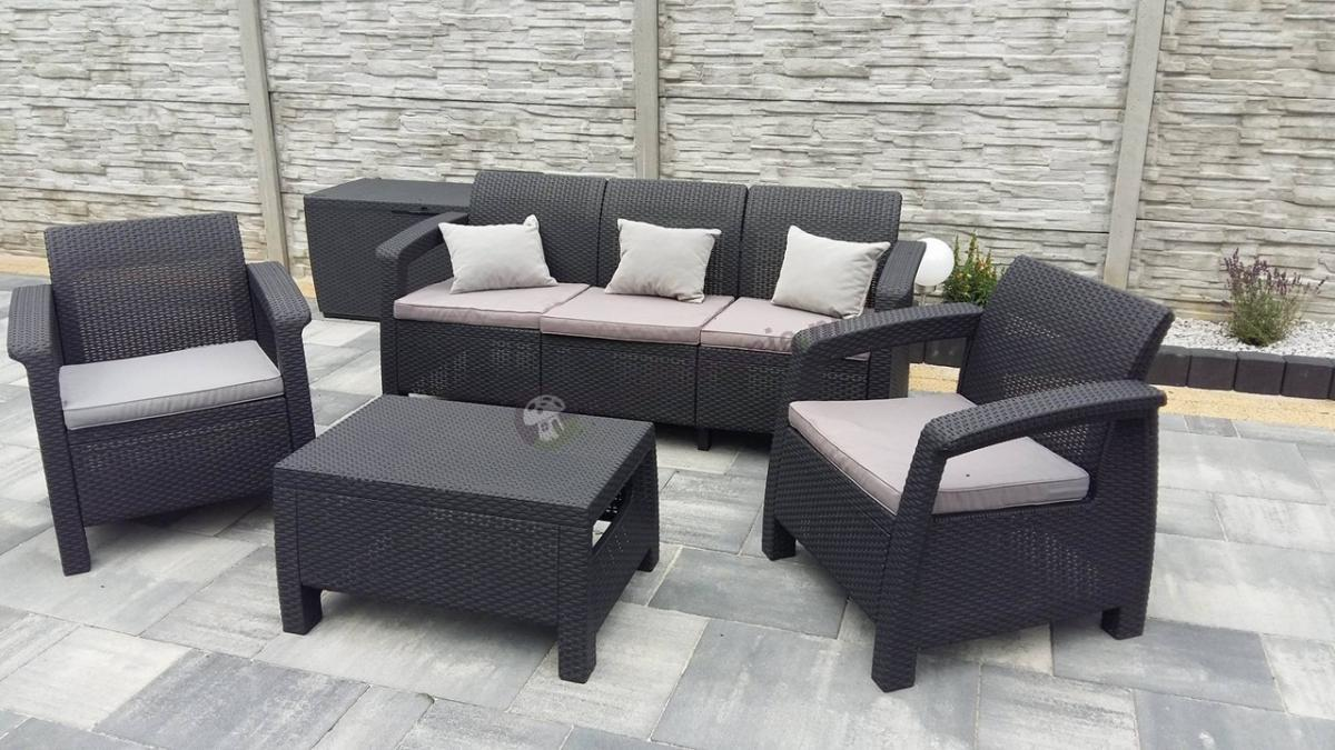 Zestaw ogrodowy ze skrzynią na poduszki Curver Keter Corfu Set z sofą 3 osobową
