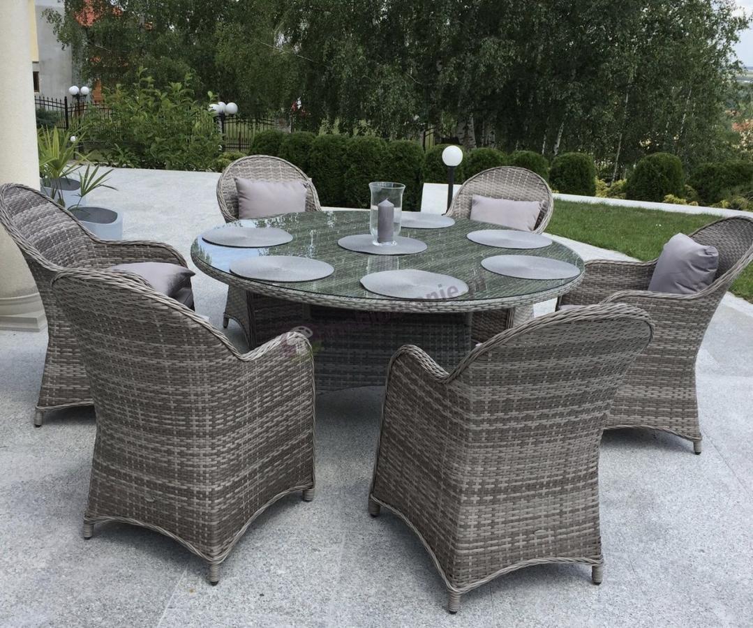 Zestaw sześciu foteli technorattan Altito z okrągłym stołem