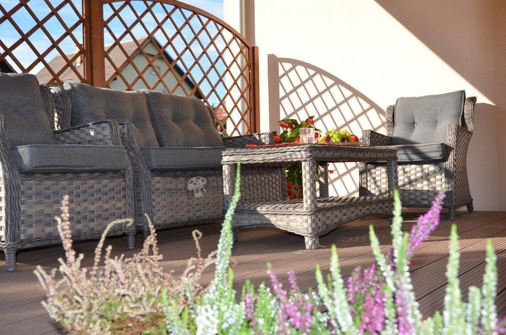 Zestaw Trivento z sofą dwuosobową i eleganckim stolikiem kawowym