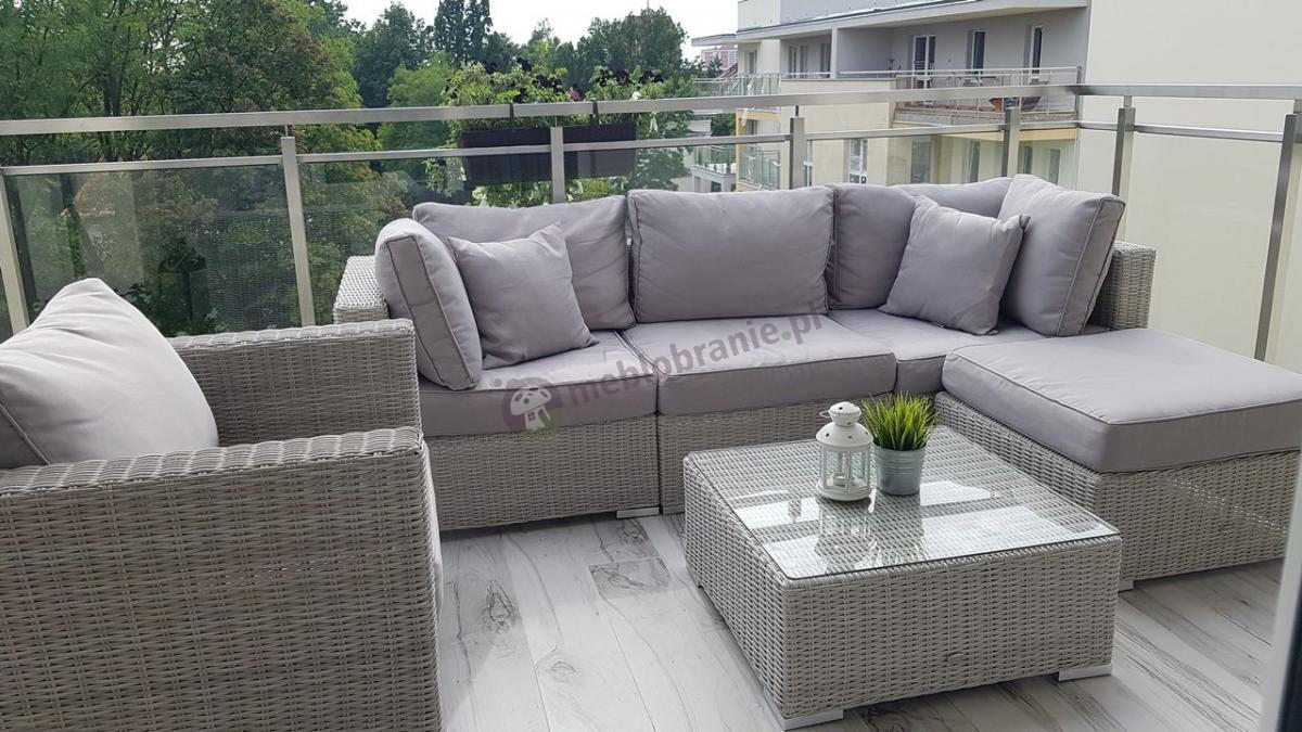 Zestaw wypoczynkowy do ogrodu z technorattanu używany na balkonie