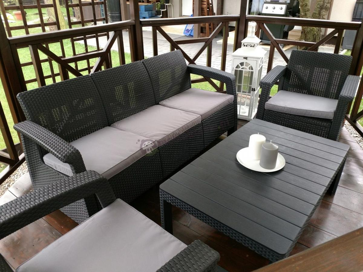 Zestaw wypoczynkowy na taras z podnoszonym stolikiem grafitowy