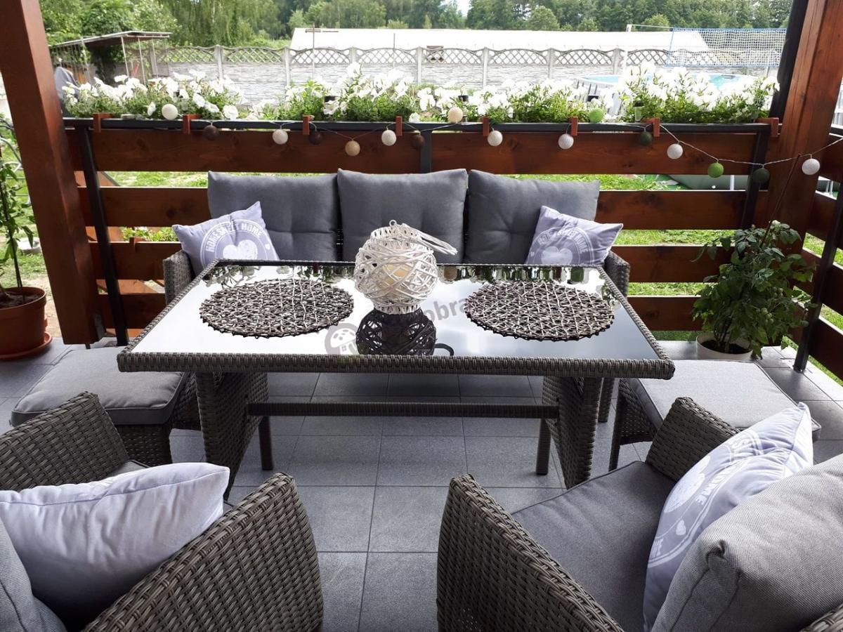 Zestawy ogrodowe z sofą technorattan Cortina Grey z pufami