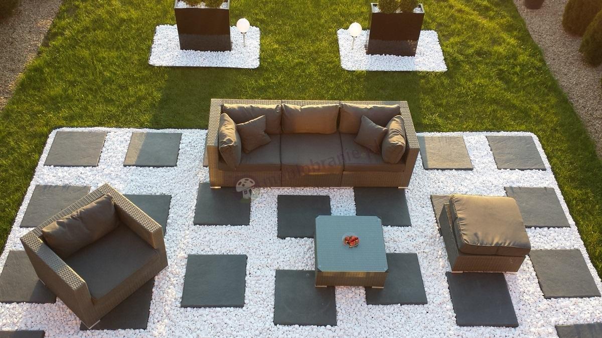 Zestawy technorattanowe Nilamito z sofą, fotelami i stołem