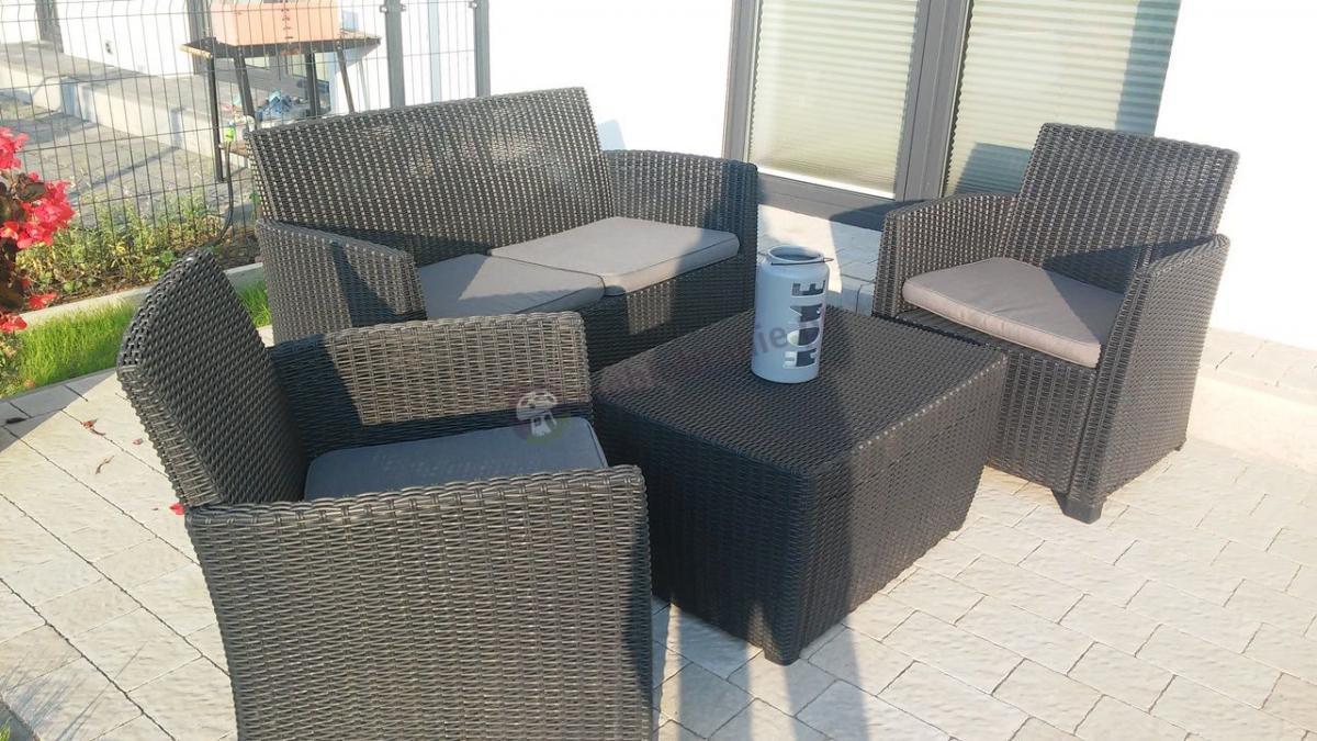 Zestawy wypoczynkowe na taras Corona Box ze stolikiem - skrzynią