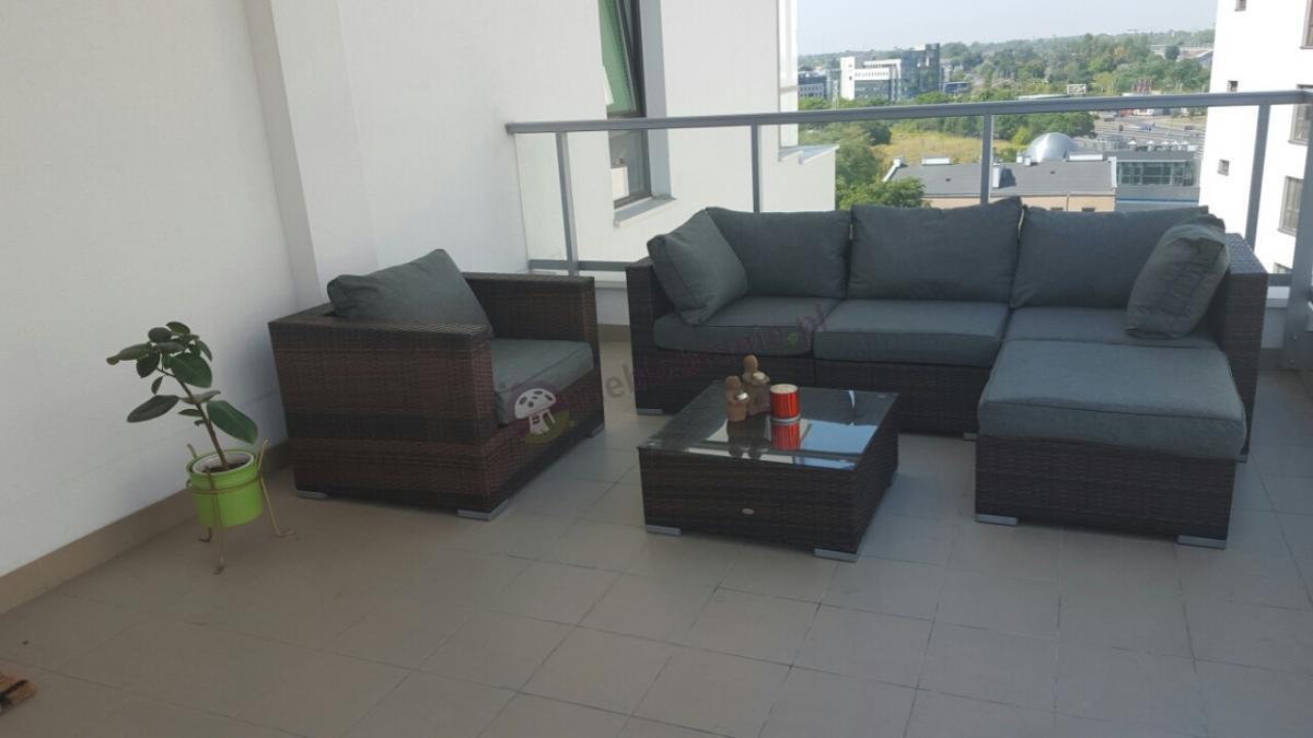 Zewnętrzny zestaw balkonowy z technorattanu Nilamito Brown & Grey