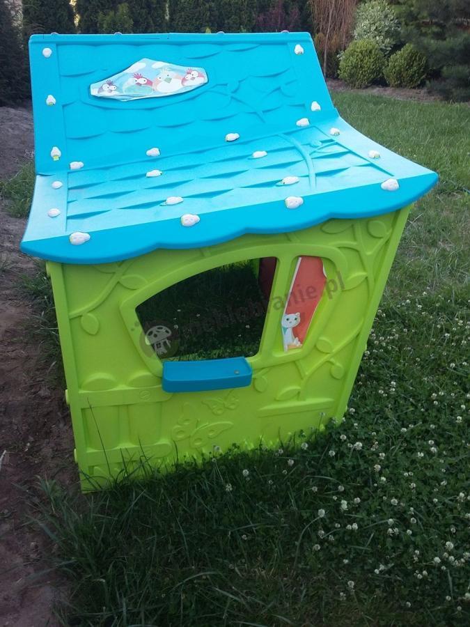 Zielony domek dziecięcy ogrodowy z oknami tani Magic Villa keter