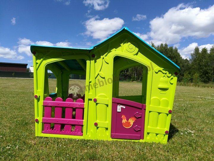 Zielony domek ogrodowy dla dzieci w niskiej cenie bezpieczny Magic Villa