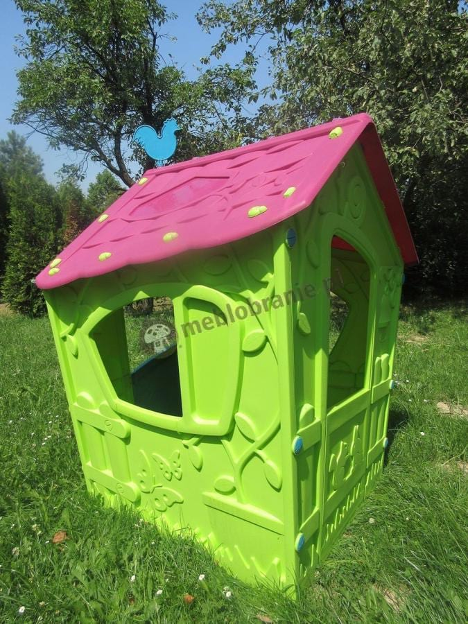 Zielony domek z różowym dachem dla dzieci do ogrodu Keter Magic Playhouse