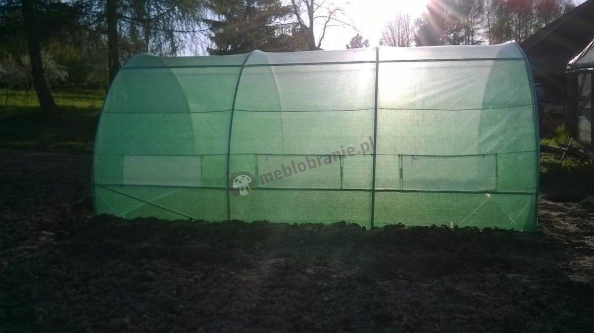 Zielony namiot tunel foliowy oświetlony promieniami słońca