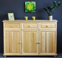Drewniana komoda z 3 szufladami i 2 szafkami