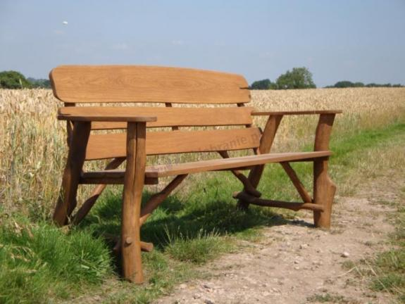 Rustykalna ławka dębowa