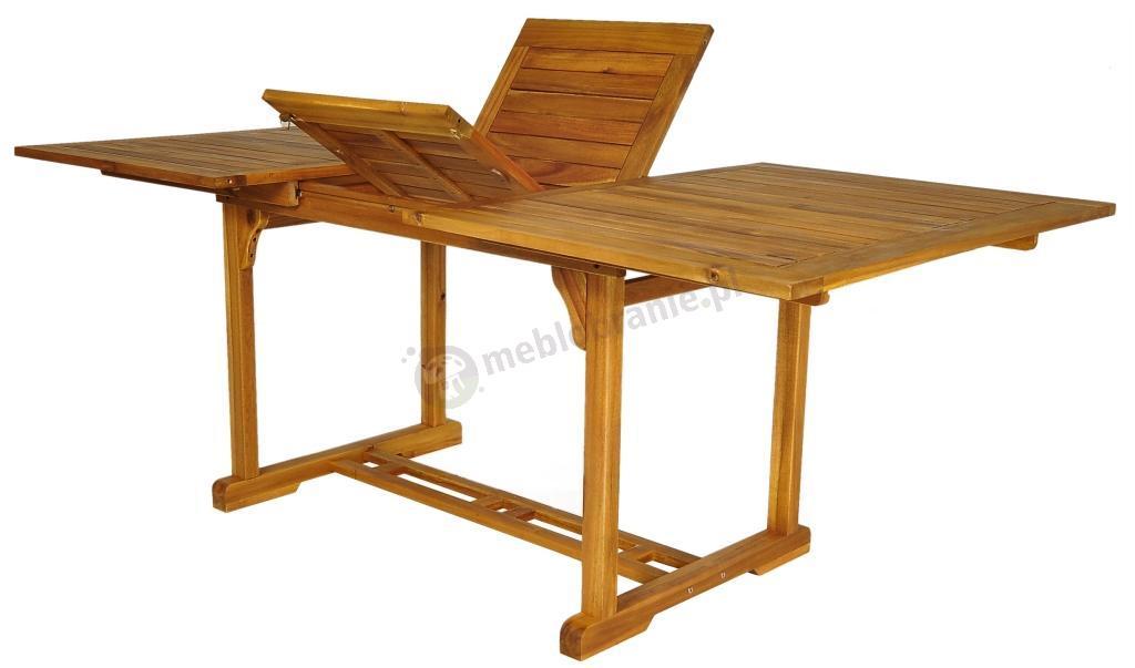 Meble Ogrodowe Technorattan Bello Giardino : Meble ogrodowe drewniane stół 200x100cm, 6 krzeseł textiline